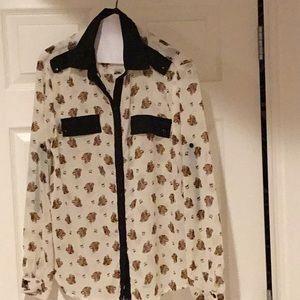 Leopard print blouse xl